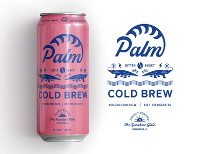 Palm Coffee Komodo Cold Brew design craft brand retro logo identity illustration lettering typography vector color concept pink packaging branding can coffee coldbrew brew cold
