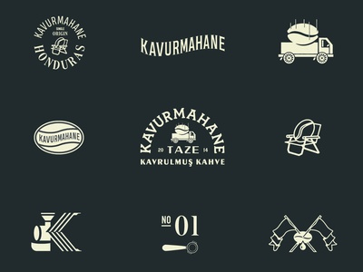 Kavurmahane Brand Exploration sun illustration freelance studio exploration wing monogram logo car espresso brand branding monogram coffee bean logodesign typography logo icon typography truck flags