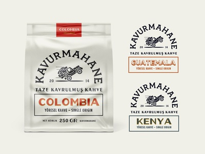 Kavurmahane Bags retro craft brand typography packaging lettering concept logo identity design branding wholesale bean whole roasted ui kenya pouch bag illustration