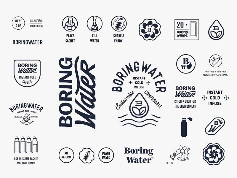 Boring Water Exploration identity design exploration logo typography vector environmental enviroment vintage bottle water sustainable healthy san francisco branding