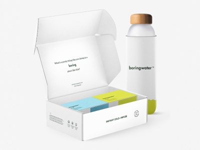 Boringwater Retail Box and Water Bottle hydrate hydration beverage cold plastic koozie package packaging concept vector branding concept minimalism simple typography sustainable water environment clean minimal branding