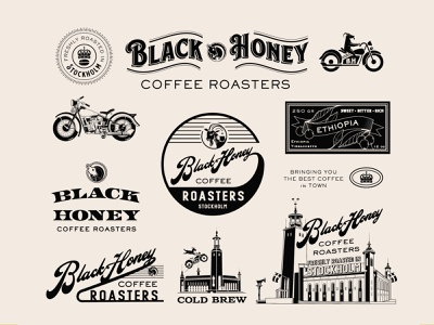 Black Honey Coffee Roasters arabica crown cold brew style funky funk type logo drawing architecture third wave goat harley-davidson harley retro technical vintage art lettering illustration