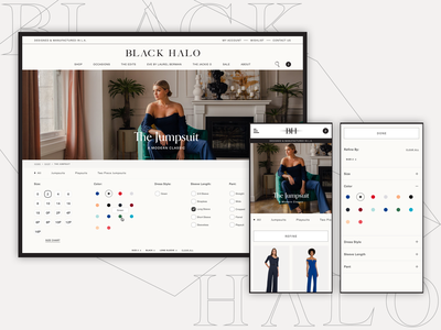 Black Halo Product Listing Page collections ecommerce bva ux ui design shopify