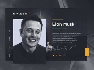 Elon Musk User Profile minimal page slider web elon musk spacex user profile ux ui design dailyui006 dailyui