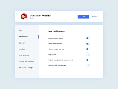 Settings UI messenger telegramб user profile menu toggle settings ux ui design dailyui007 dailyui