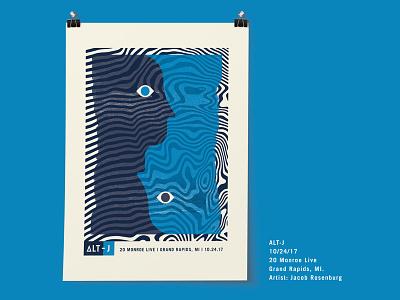 Alt J Poster gig poster poster wave eye psychedelic blue dark blue face two face experimental
