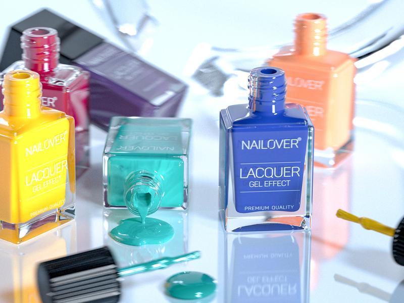 Nailover product shot redshift packaging c4d 3d modeling 3d rendering visualization beauty 3d render