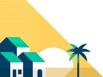 Sunset illustration palm sunset house