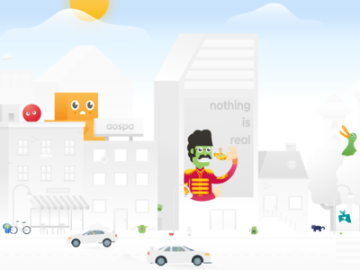 Paranoid Android header concept vector city illustration city android illustration aospa