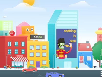 Paranoid Android header city vector android illustration aospa