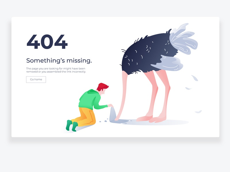 404 page vector art illistration empty ux missing clean webpage ui boy person guy animal 2d lost webdesing web ostrich 404 page error 404