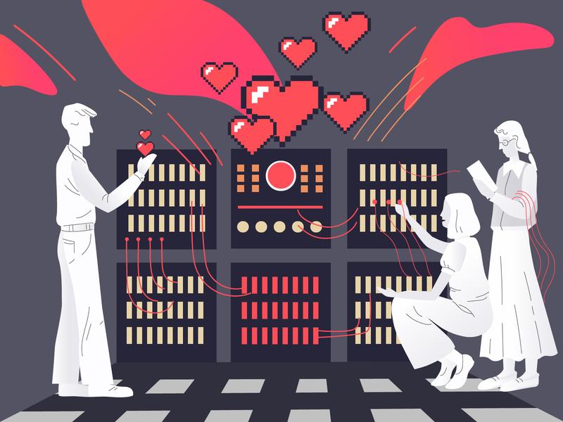 St.Valentine's Day illustration science fiction developement design sweetheart internet wires smart girls valentine day technology it people love machine retro computer heart love day love