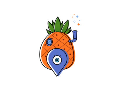 Pineapple Island sketch mbe island pineapple spongebob orange illustration icon map cute character cartoon