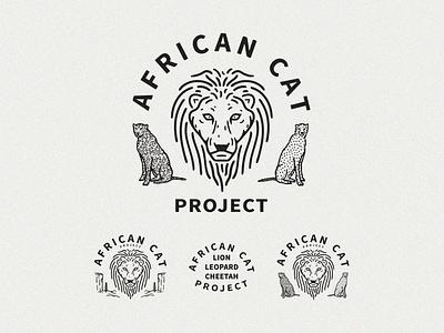 Africa Cat Project parks cheetah lion leopard mountains outdoors animals wild animals nonprofits conservation logotype logo design typography branding vector badgedesign illustration graphic design adventure