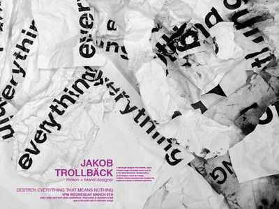 Jakob Trollback: Destroy Everything That Means Nothing