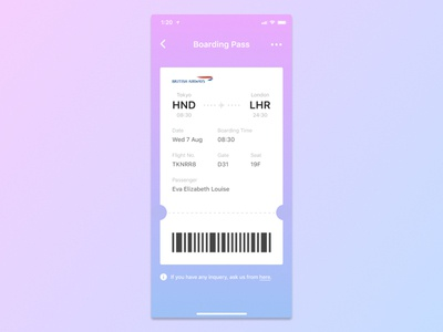 Daily UI Challenge - #024 Boarding Pass