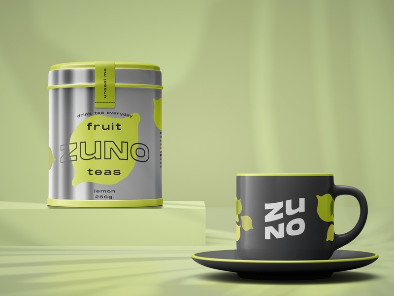 ZUNO - Fruit Teas illustration typography packaging logo branding design