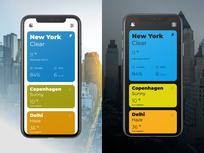 Card based Weather App - Not fancy, but useful! usability ux ui dribbble challenge design