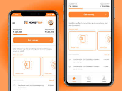 MoneyTap - Loan taking app Dashboard Redesign