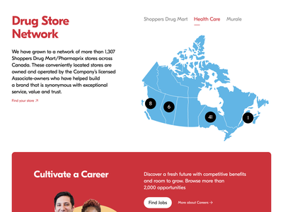 Shoppers Drug Mart Corporate Website 3 health healthcare canada corporate ux ui clean micro-interaction microinteraction interactive banner interaction motiongraphics motion design animated graphic website design web design web website