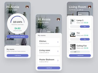 Smart home energy calculator home ux ui design app smarthome