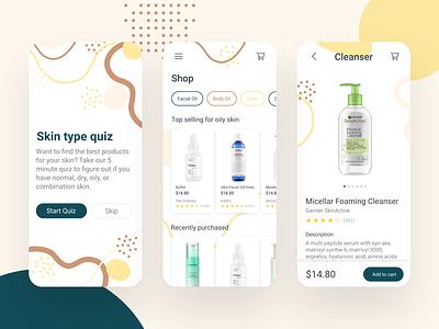 Skincare App productdesign ux quick skin type skincare skin shapes quiz organic onboarding neutral mobile design app