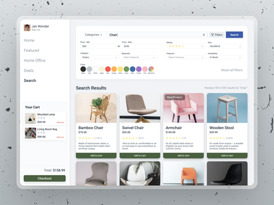 Furniture Site - Search crowwwn featured chair checkout ui design web ux cart color filter search furniture