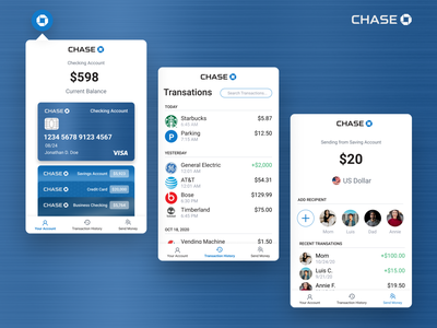 Chase Banking Chrome Extension blue productdesign web chrome extension chrome ui ux checking creditcard chase banking bank