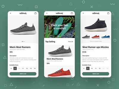 Shoe Comparison Concept geometic green running shoes wool sustainable ux ui productdesign mobile shoes app shoe design allbirds sneaker shoe