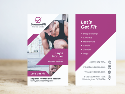 Fitness Business Card in Vertical Layout