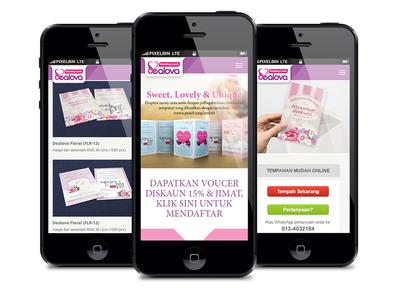 Dealova Wedding Cards in Mobile Screen View