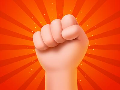 Labor Day red fist hand ui illustration icon design cute