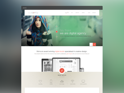 Home Page preview web website design digital agency creative green orange red minimal grand stylish responsive 2x