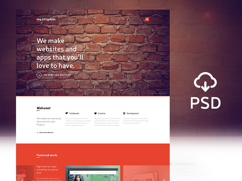 Freebie - my.kingdom one pgae PSD Template psd layered freebies website template landing page one page download orange bricks featured portfolio creative