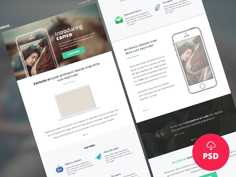 Freebie – Canva – Multipurpose Newsletter/Email PSD Template canva clean creative email email template freebie freebies newsletter psd