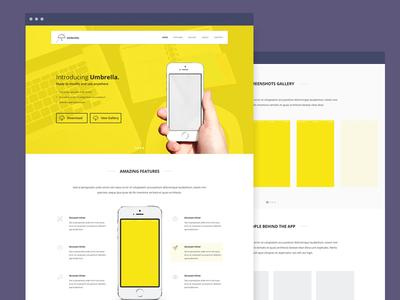 Upcoming Freebie!!! sneakpeak wip freebie umbrella app app launch website landing page yellow mobile responsive