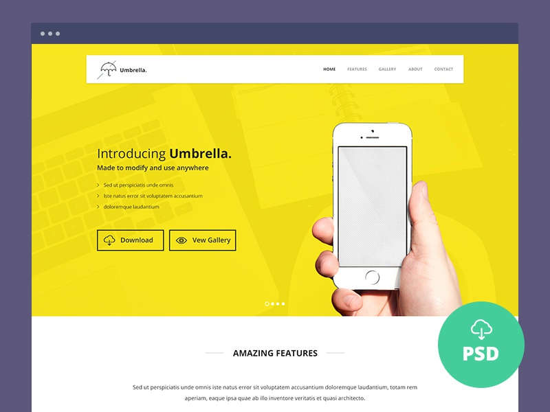 Freebie – Umbrella – Ultimate App Landing Page PSD Template app freebie fully layered landing page pixel perfect psd template umbrella