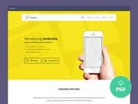 Freebie – Umbrella – Ultimate App Landing Page PSD Template