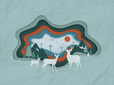 Paper Cut Illustration - Mountain