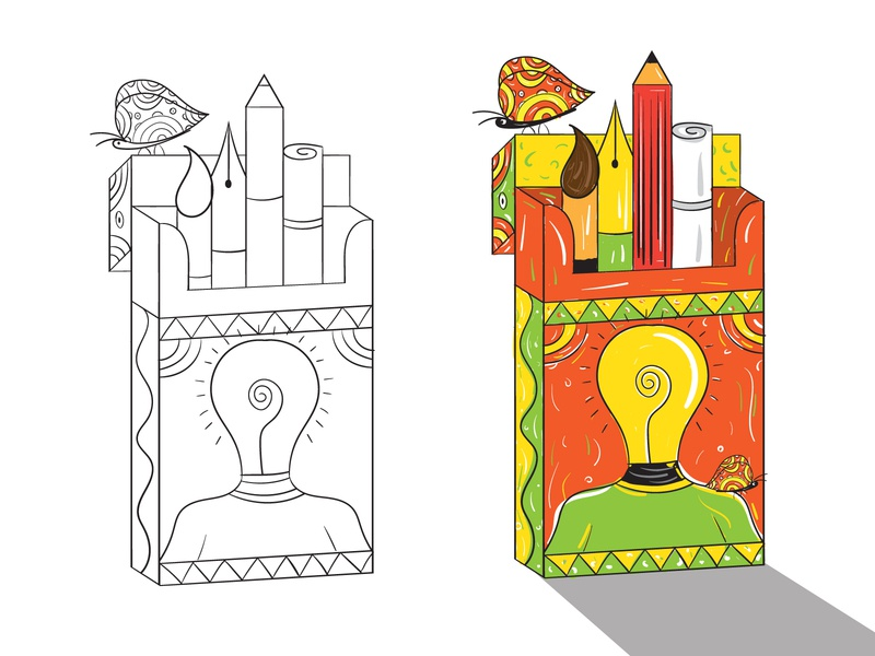 An Artistic Addict pen pencil indian art creative cigarette butterfly art drug addict thinkwithramesh indian illustrator indian colors branding art india colors vector dribbble design illustration