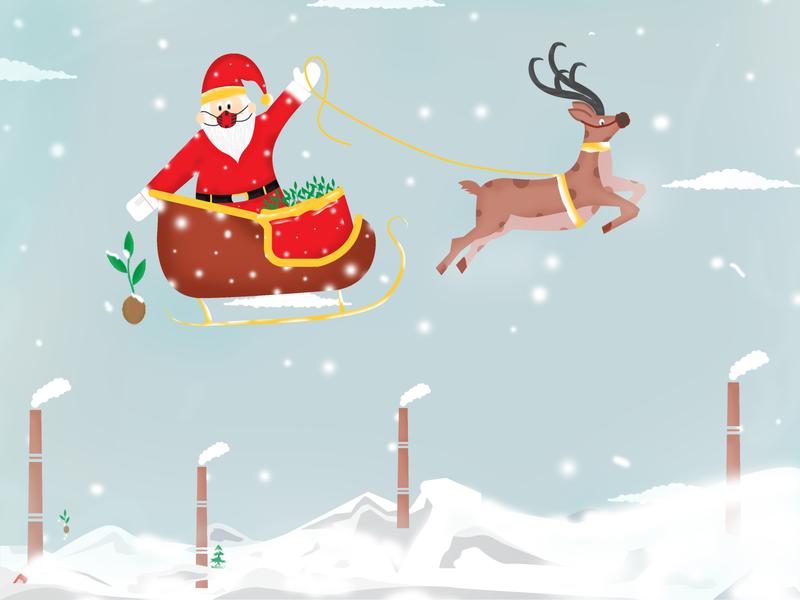 Santa giveaway nature branding art india colors love vector dribbble design illustration