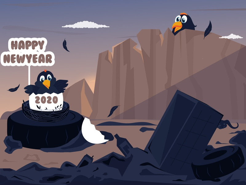 Happy New Year 2020!!! opportunities welcome happy new year poster post gif egg save nature happiness hen 2020 new year happy new year india colors love vector dribbble design illustration