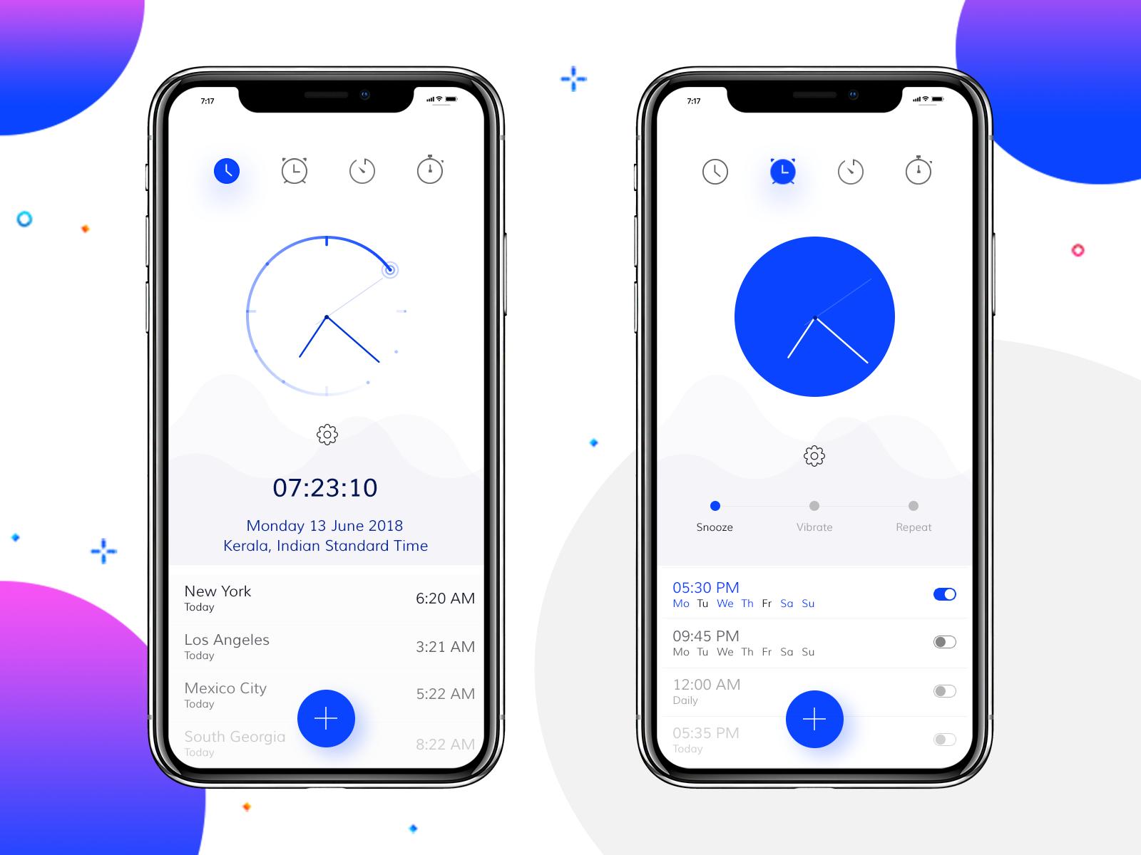 Clock App Design Concept timer ios dial isd stop watch time timeapp clocks alarm clock