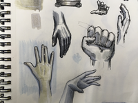 Practicing drawing hands