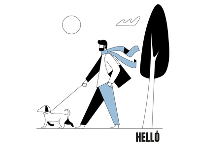 A man walking with a dog ux character design ui minimalism vector illustration