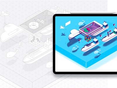 Isometric infographics with textures. interaction sea container tablet search cloud platform model network ux concept boath texture infographic illustration vector