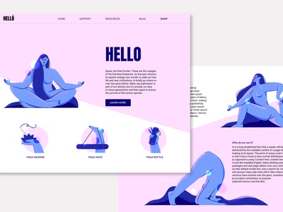 Landing page yoga studio nude ui design design minimalism ui character design ux vector icon body yoga texture illustration landing page