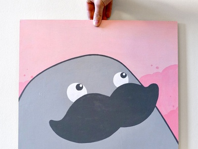 Herman Pink background painting pink character design cartoon illustration