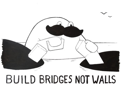 Build Bridges not Walls better world inking painting cartoon character design illustration bridges