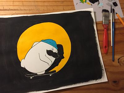 Skating Herman yellow skateboard painting cartoon character design illustration